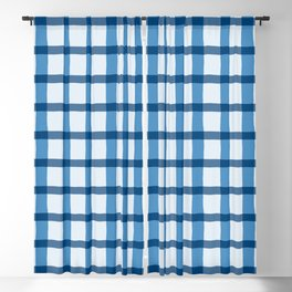 Blue and White Jagged Edge Plaid Blackout Curtain