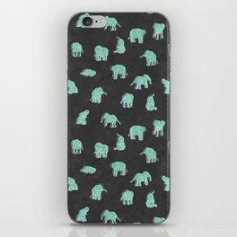 Indian Baby Elephants Black/Mint iPhone Skin