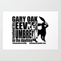 umbreon Art Prints featuring Gary's Umbreon by interesting oak