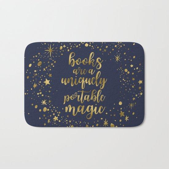 Books Are a Uniquely Portable Magic (Gold) Bath Mat