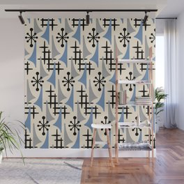 Mid Century Modern Atomic Wing Composition Blue & Grey Wall Mural