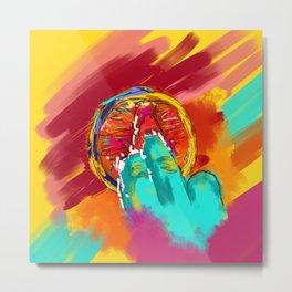 Orange Finger Metal Print