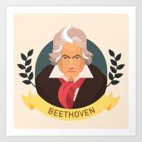 beethoven Art Prints featuring Beethoven by Espaco Ilusório