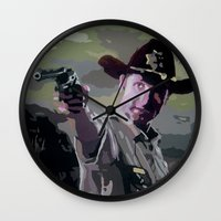 rick grimes Wall Clocks featuring Rick Grimes by Processed Image