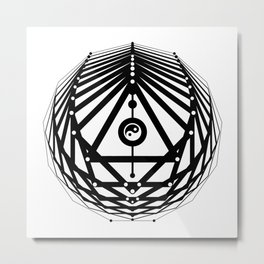 Radiant Abundance (white-black) Metal Print