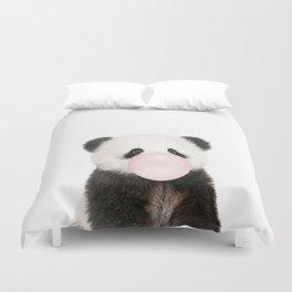 Bubble Gum Panda Bear Duvet Cover