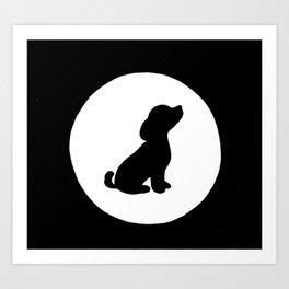 Lunar Puppy  Art Print