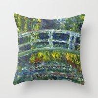 monet Throw Pillows featuring Monet Interpretation by Britt Miller Art