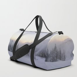 Natural and snow cannon mist in the morning Duffle Bag