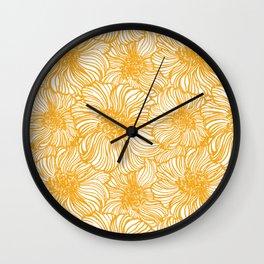 yellow sunflower on linen Wall Clock