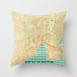 New Haven Map Retro Throw Pillow