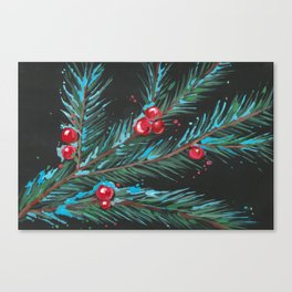 Christmas Tree Branch, Snowy Winter Berries, Contemporary Art Canvas Print