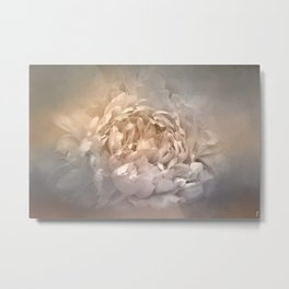 Blushing Silver and Gold Peony - Floral Metal Print