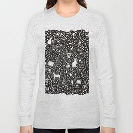Black Ink Drawing with Cats, Bones, Skulls, Knives and Hearts. Long Sleeve T-shirt