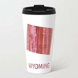 Wyoming map outline Indian red stained wash drawing Travel Mug