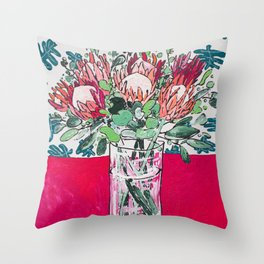 Bouquet of Proteas with Matisse Cutout Wallpaper Throw Pillow