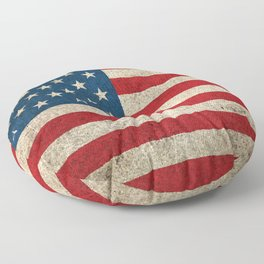 Old and Worn Distressed Vintage Flag of The United States Floor Pillow