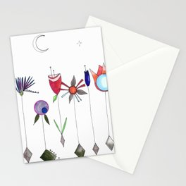 Garden Flowers Take a Vacation to Outerspace  Stationery Cards