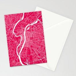 Lyon map raspberry Stationery Cards