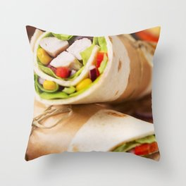 Healthy chicken wraps on a rustic chopping board Throw Pillow