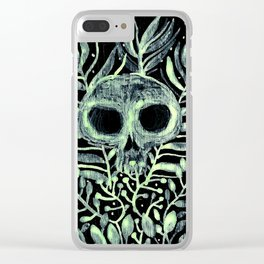 skull in leaves Clear iPhone Case
