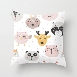 Woodland Critters Pattern Throw Pillow
