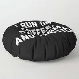 Run Coffee, Sarcasm & Lipstick Funny Quote Floor Pillow
