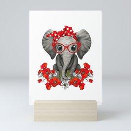 Save The Elephants t-shirt Elephant mom red bow woman Mini Art Print