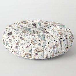 Boho Tribal Cowgirl Ephemera - cream Floor Pillow
