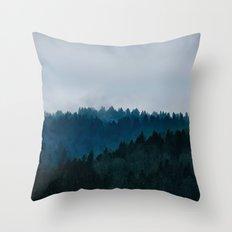 Misty Dark Blue Green Forest Throw Pillow