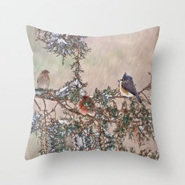 Three Little Birds in a Blizzard Throw Pillow