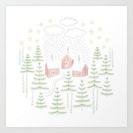 Snowy Winter Forest Village Drawing Art Print