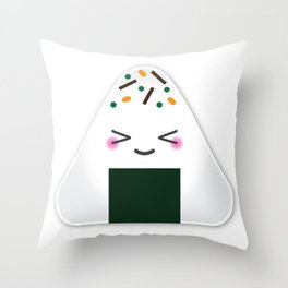 Happy onigiri Throw Pillow