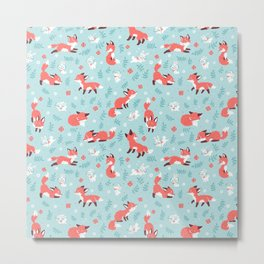 Fox and Bunny Pattern Metal Print