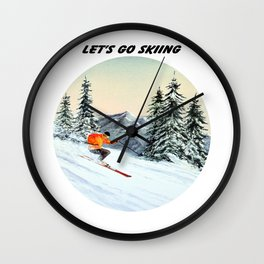 Let's Go Skiing Wall Clock