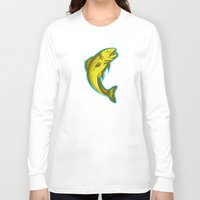 trout Long Sleeve T-shirts featuring trout fish jumping retro by retrovectors