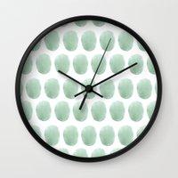 polkadot Wall Clocks featuring Watercolour polkadot by studio groenling