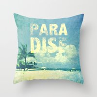 paradise Throw Pillows featuring Paradise by Mango Tangerine Studio