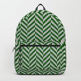 Realistic knitted herringbone pattern green Backpack