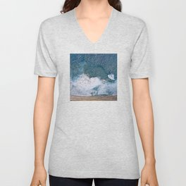 Tropical, Romantic Beach With Foamy Waves Crashing Unisex V-Neck