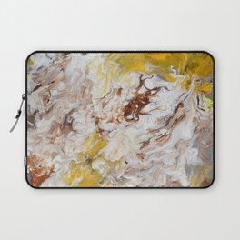 Brown, White and Yellow Abstract Art Laptop Sleeve