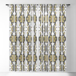 We Hold the Key 2- Gold the Digital Maori collection Sheer Curtain
