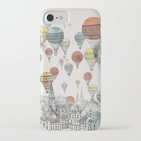yellow pattern iPhone & iPod Cases featuring Voyages over Edinburgh by David Fleck