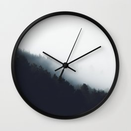 Fog over forest diagonal layers Wall Clock