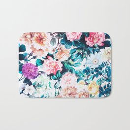 Modern blush pink green watercolor roses floral Bath Mat