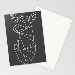 Geometric Doe (White on Grey) Stationery Cards
