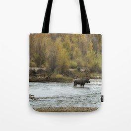 Moose Mid-Stream - Grand Tetons Tote Bag