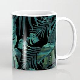 Tropical Jungle Night Leaves Pattern #1 (2020 Edition) #tropical #decor #art #society6 Coffee Mug