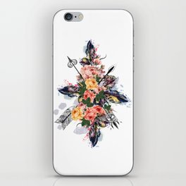 Art boho design with arrows, feathers and flowers. Wild way iPhone Skin