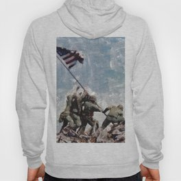 Raising The Flag on Iwo Jima, WWII Hoody